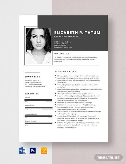 Commercial Producer Resume Template