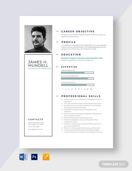 Commodity Manager Resume Template