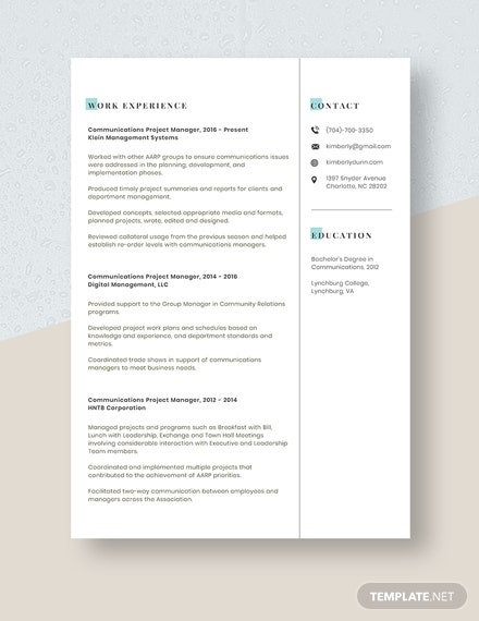 Communications Project Manager Resume Template