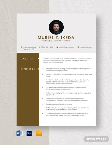 Communications Supervisor Resume Template