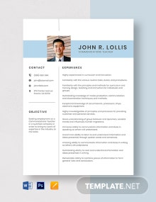 Communications Teacher Resume Template