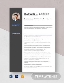 Communications Writer Resume Template