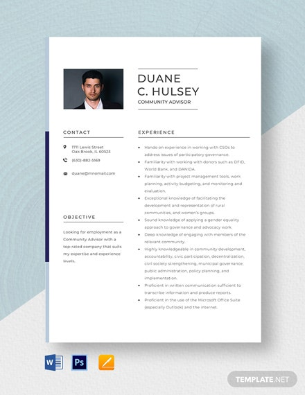 Community Advisor Resume Template