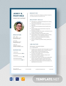 Computer Support Resume Template