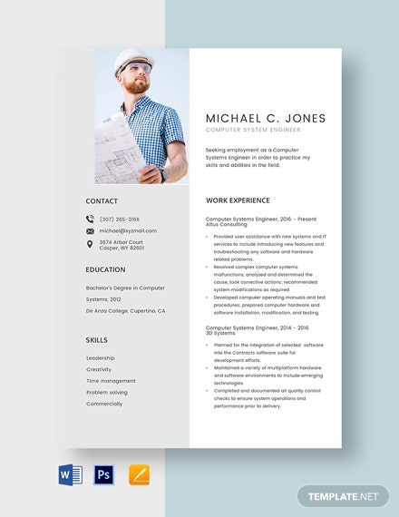 Computer Systems Engineer Resume Template