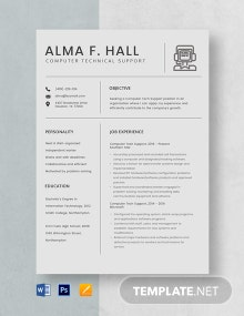 Computer Tech Support Resume Template