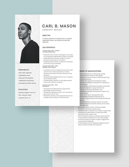 Concept Artist Resume  Download