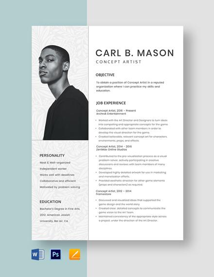Concept Artist Resume Template