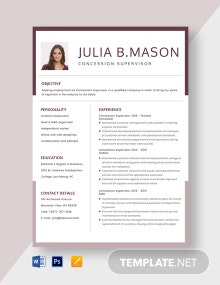 Concession Supervisor Resume Template