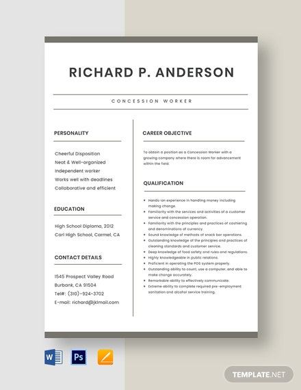 Concession Worker Resume Template