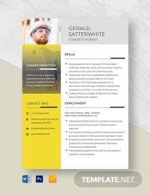 Concrete Worker Resume Template