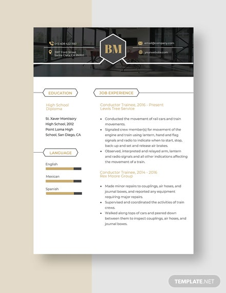 Conductor Trainee Resume Template