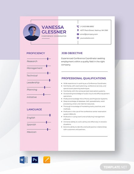 Conference Coordinator Resume Template