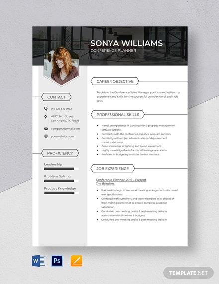 Conference Planner Resume Template