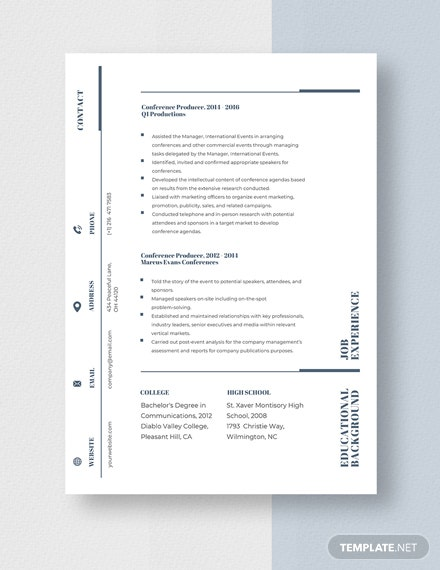 Conference Producer Resume Template