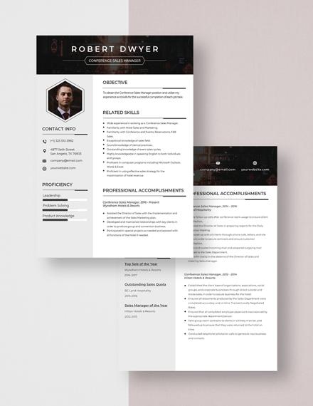 Conference Sales Manager Resume Download