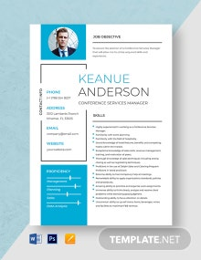 Conference Services Manager Resume Template