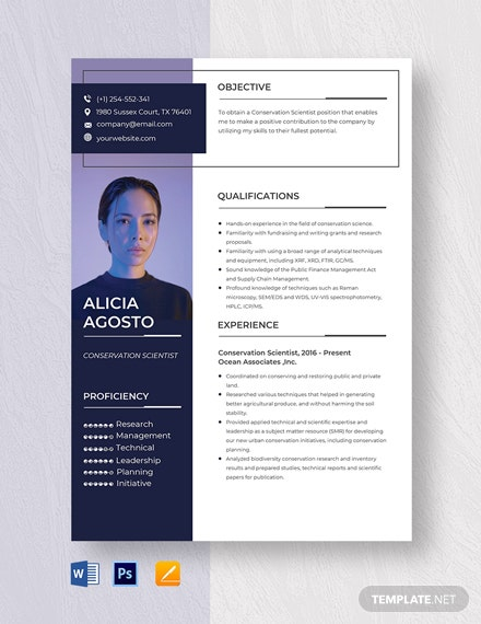 Conservation Scientist Resume Template