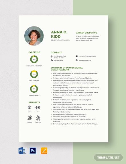 Conservation Technician Resume Template