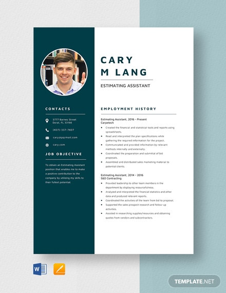 Estimating Assistant Resume Template