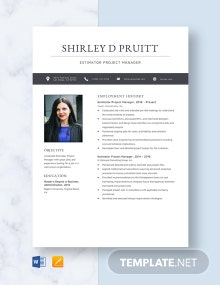 Estimator Project Manager Resume Template