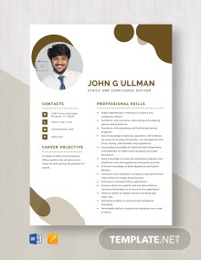 Ethics And Compliance Officer Resume Template