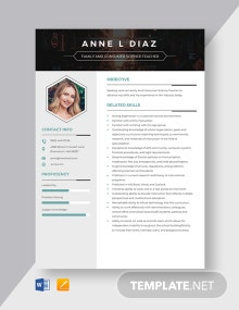 Family And Consumer Science Teacher Resume Template
