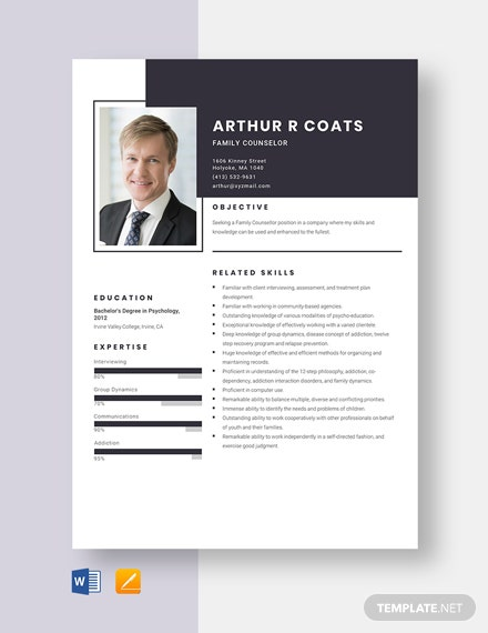 Family Counselor Resume Template