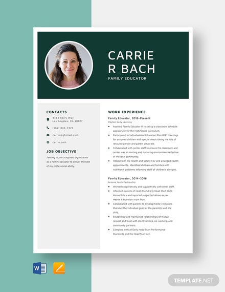 Family Educator Resume Template