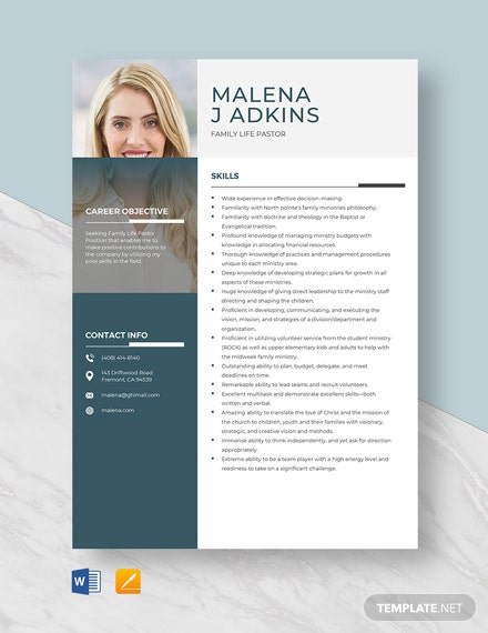 Family Life Pastor Resume Template