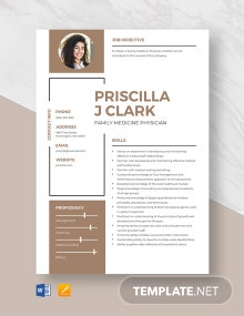 Family Medicine Physician Resume Template
