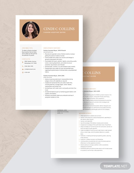 Fashion Assistant Buyer Resume Download