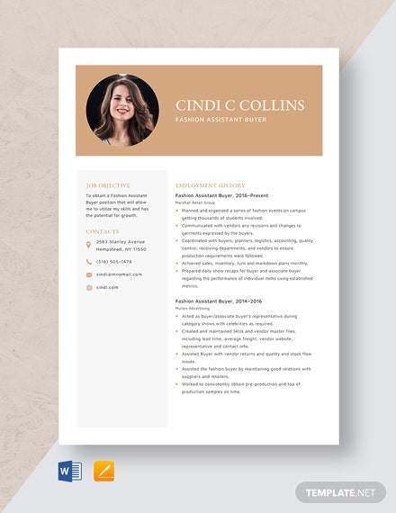 Fashion Assistant Buyer Resume Template