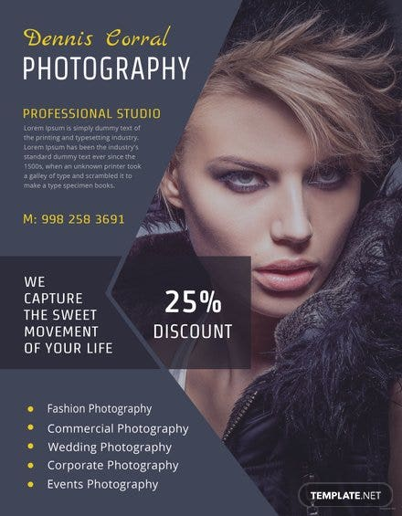 editable photography flyer template in adobe photoshop