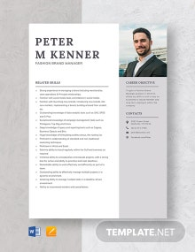Fashion Brand Manager Resume Template