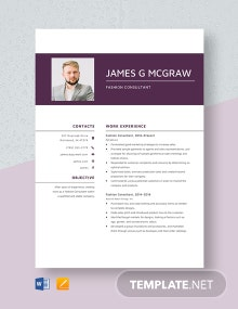 Fashion Consultant Resume Template