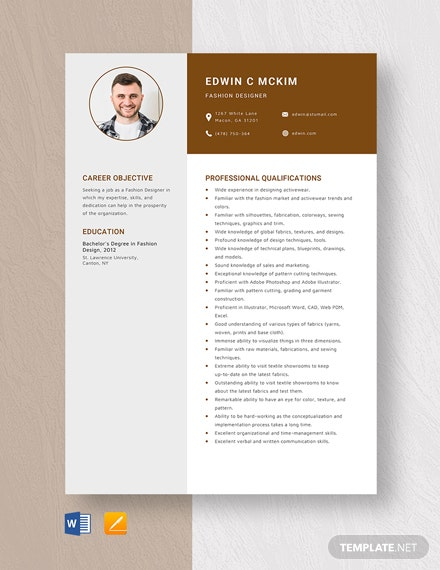 Fashion Designer Resume Template