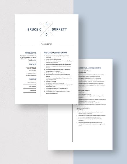 Fashion Editor Resume Download