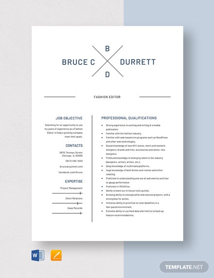 Fashion Editor Resume Template