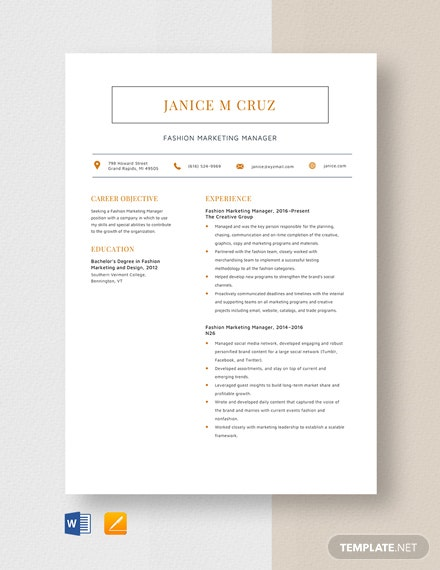 Fashion Marketing Manager Resume Template