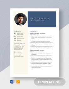 Fashion Photographer Resume Template