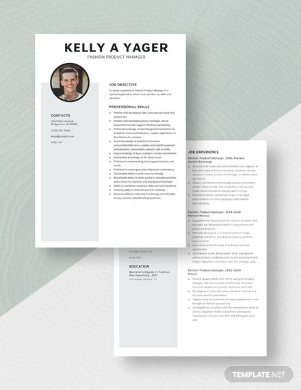 Fashion Product Manager Resume Download