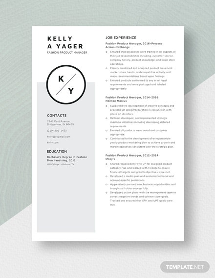 Fashion Product Manager Resume Template