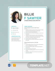Fashion Production Assistant Resume Template