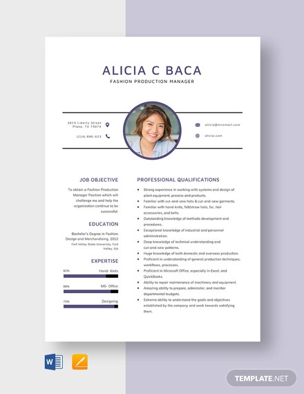 Fashion Production Manager Resume Template