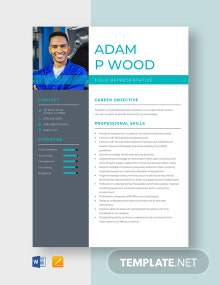 Field Representative Resume Template