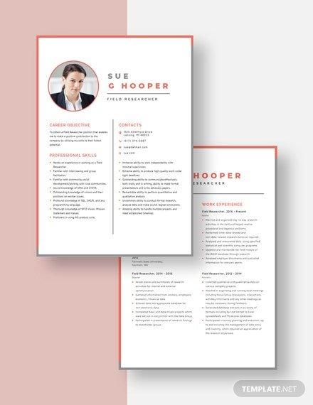 Field Researcher Resume Download