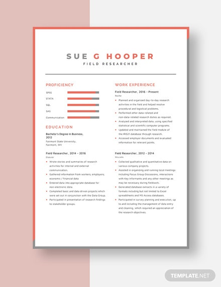 Field Researcher Resume Template