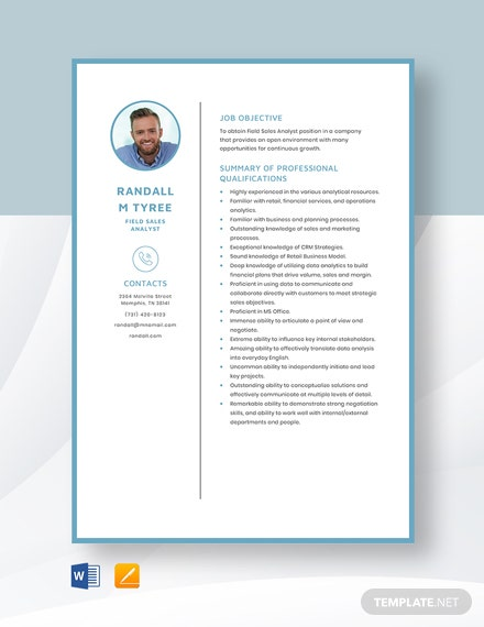Field Sales Analyst Resume Template