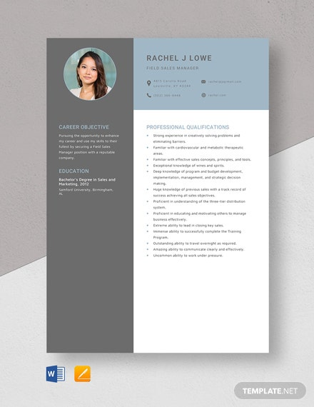 Field Sales Manager Resume Template
